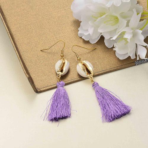Joyas de acero inoxidable Diseño de concha Pendientes de borla Borla violeta