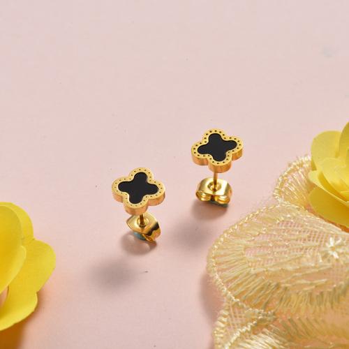 Pendientes de trébol de acero inoxidable con diseño Siemple de joyas chapadas en oro