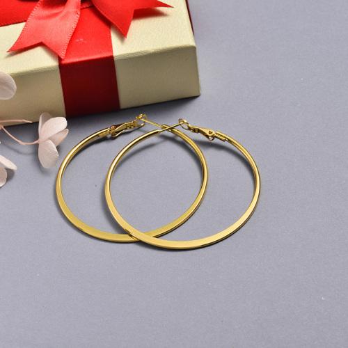 مجوهرات مطلية بالذهب Siemple Design Stainless Steel Hoop Earrings 55MM