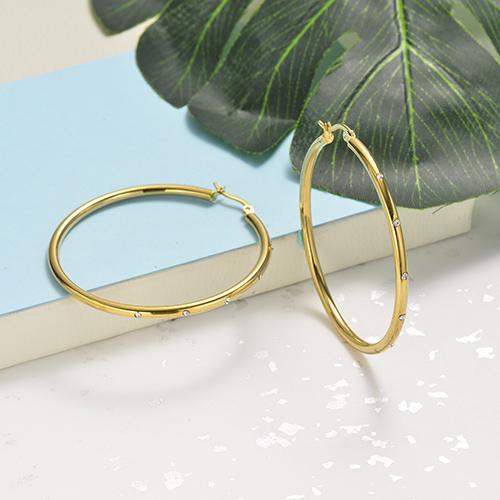 تصميم مجوهرات مطلية بالذهب موضة أقراط الفولاذ المقاوم للصدأ حلقة 57 مم عرض 3 مم