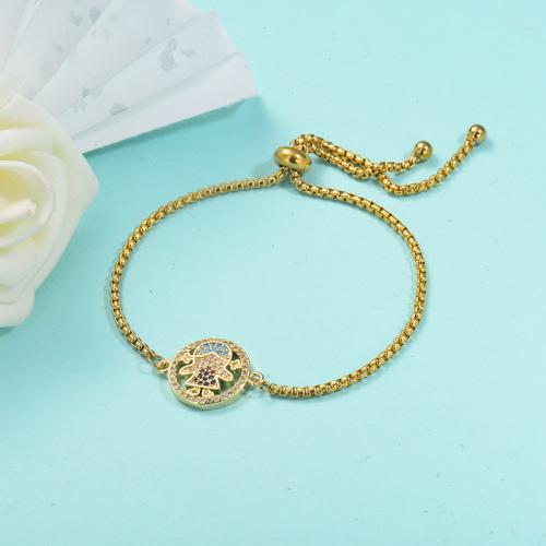 Pulsera de cadena de acero inoxidable con pulsera de Mulit de material de cobre para niña de oro delicado