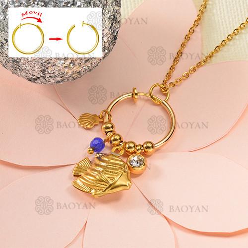 Fashion color diamond style gold necklace