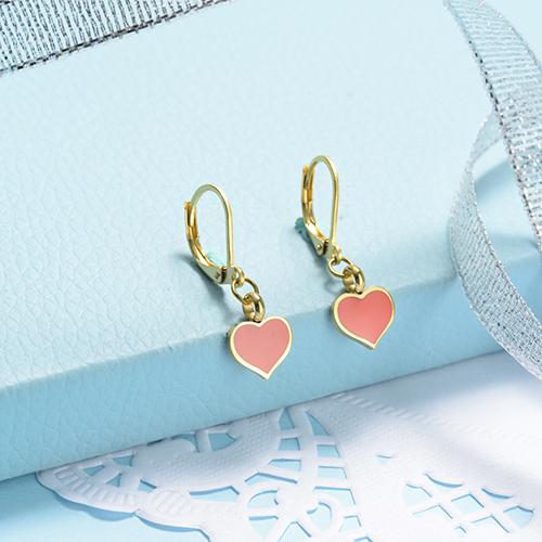 Pendientes de corazón de estilo lindo de acero inoxidable con diseño de joyería chapados en oro