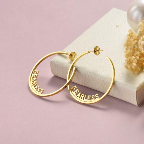 مجوهرات مطلية بالذهب تصميم أزياء أقراط الفولاذ المقاوم للصدأ FEARLESS هوب