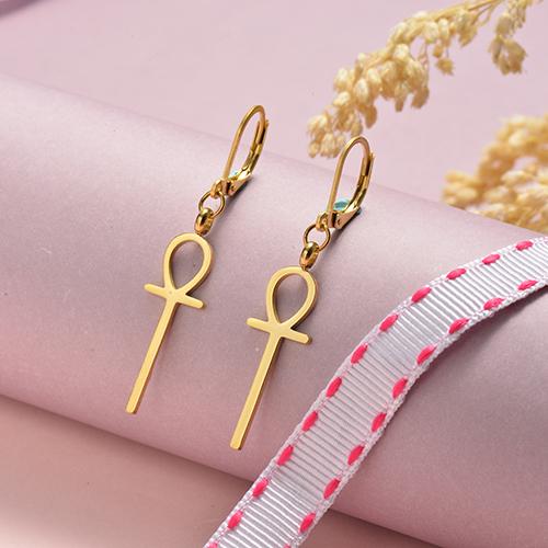 Diseño de joyería chapado en oro Moda Acero inoxidable Señora símbolo Pendientes colgantes