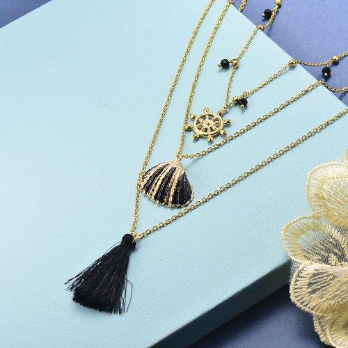 Collar en capas de oro estilo vintage concha negra