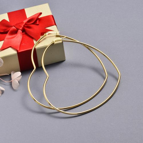 مطلية بالذهب تصميم مجوهرات الأزياء الفولاذ المقاوم للصدأ أقراط القلب هوب 95 * 79 مللي متر