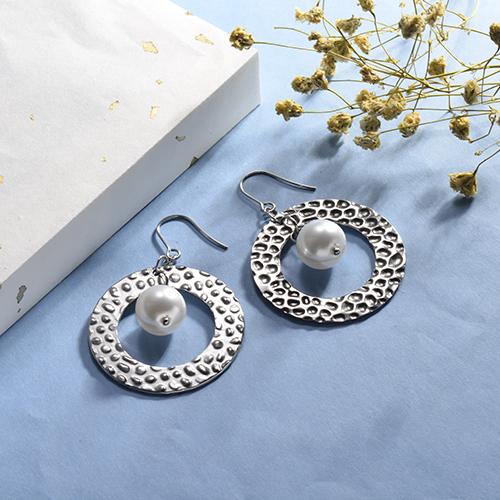 Pendiente plateado de la perla de la moda de la textura de la joyería del acero inoxidable