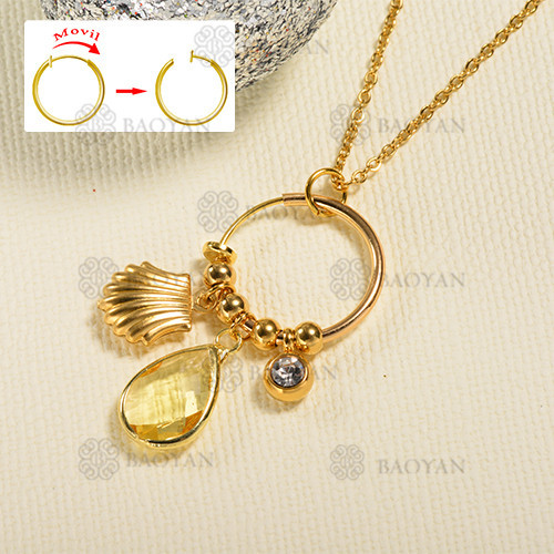 Fashion shell style gold necklace