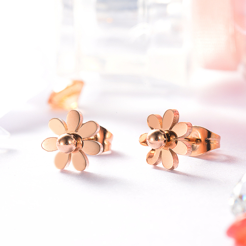 Rose Gold Plated Jewelry Siemple Design Stainless Steel  Daisy Stud Earrings