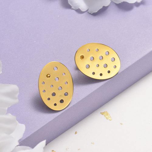 Pendientes de botón de acero inoxidable con diseño de personalidad de joyería chapada en oro