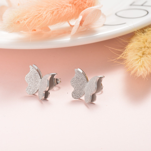 Pendientes de botón de mariposa Fasion de diseño de joyería de acero inoxidable plateado