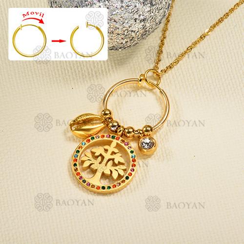 Collar de oro estilo diamante de color de moda de árbol de la vida