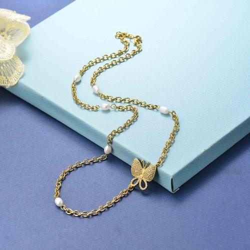 Collar Mariposa Perla Moda Oro