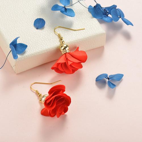 Joyas de acero inoxidable Pendientes de diseño floral Flor roja