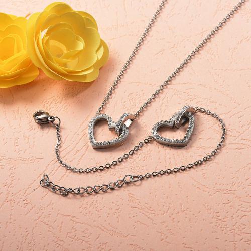 Stainless Steel Heart Necklace Bracelet Sets -SSBNG143-15323-S