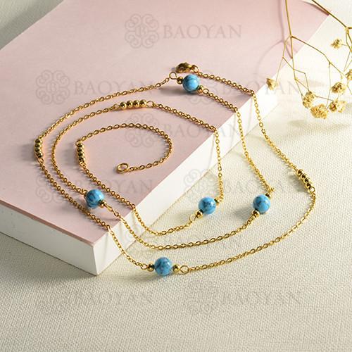 Collar largo de oro estilo piedra azul