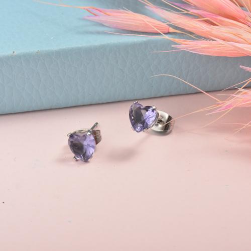 Joyas de acero inoxidable de plata Pendientes de corazón de botón de diamante de estilo simple