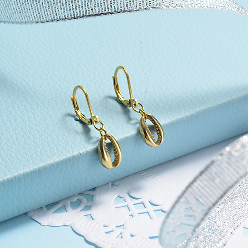 Joyas chapadas en oro Pendientes de concha de oro de acero inoxidable con diseño Siemple