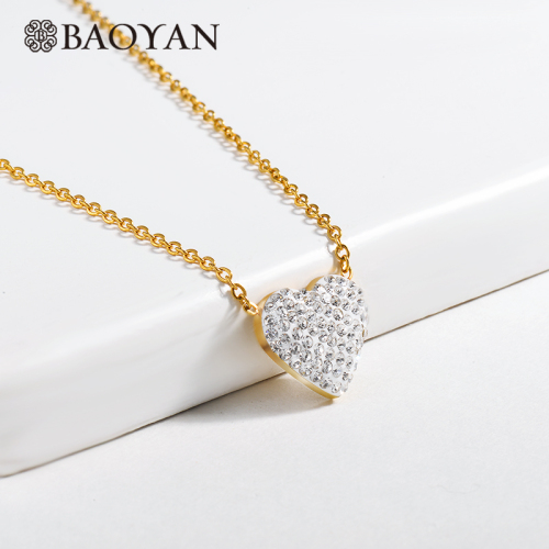 Clay diamond heart-shaped gold necklace