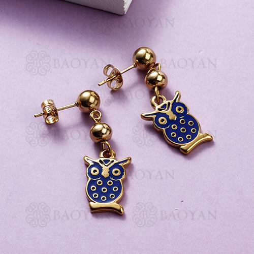 Pendientes de búho de acero inoxidable con diseño de Siemple de joyas chapadas en oro
