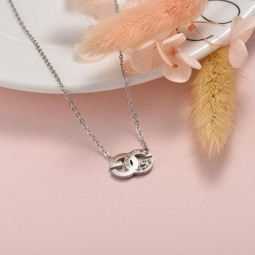 Collar doble G con diamantes en plata