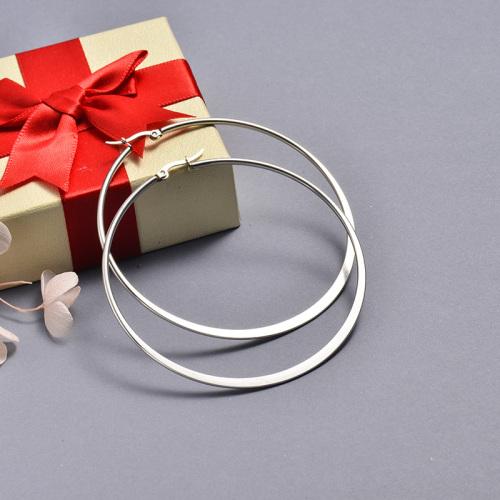 مجوهرات الفولاذ المقاوم للصدأ Siemple Design Hoop Earrings 75 * 72MM