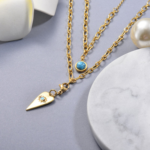 Small Blue Eye Pendant Gold Layered Necklace
