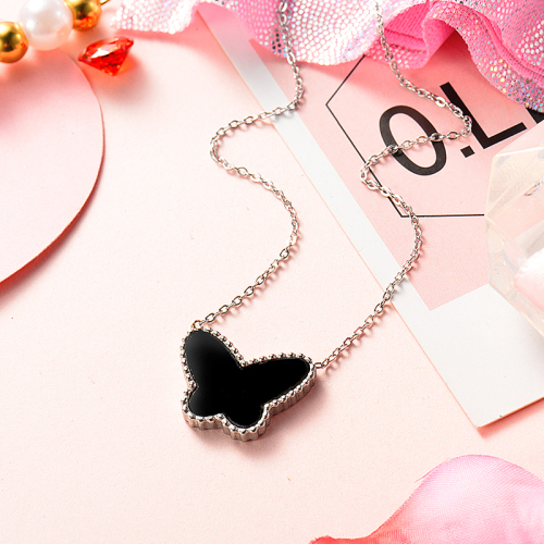 Black butterfly silver necklace
