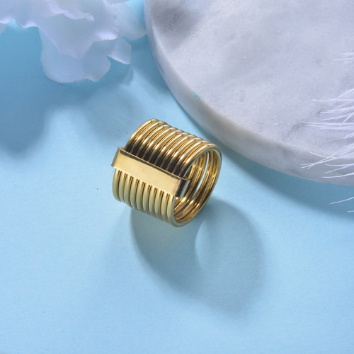 Wholesale Stainless Steel Fashion  Gold Plated Stacking Wedding Ring