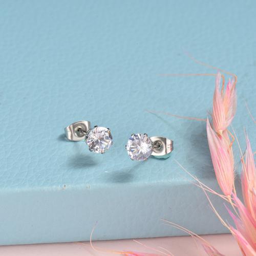 Boucles d'oreilles en diamant en acier inoxydable
