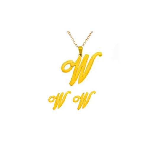 Stainless Steel Gold Initial Jewelry Sets -SSCSG143-20426-W