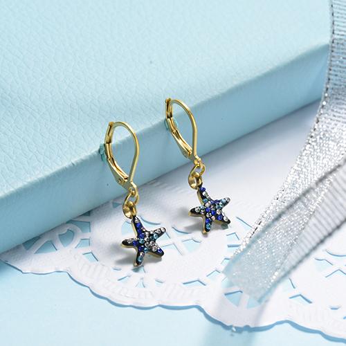Pendientes de diamantes de lujo de estrella de acero inoxidable con diseño Siemple de joyería chapada en oro rosa