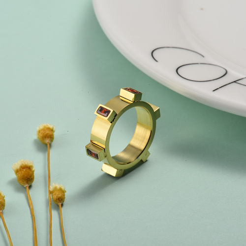 Wholesale Stainless Steel Gold Plated Simple Crystal  Stone Promise Rings