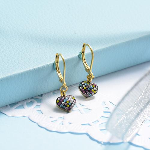 Pendientes de corazón de diamantes de lujo de acero inoxidable con diseño de joyería chapados en oro