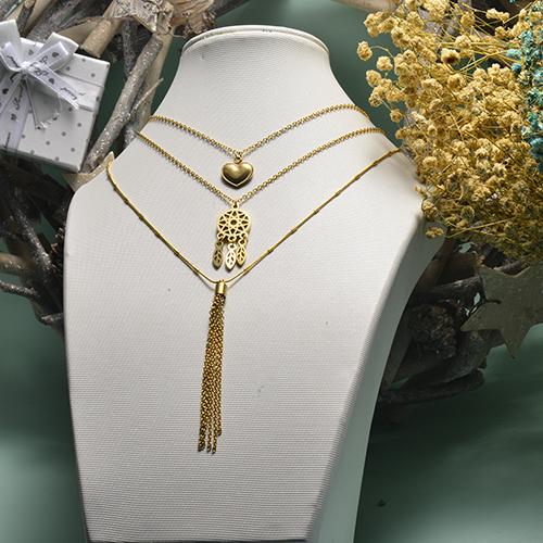 Collar de oro multicapa de estilo en forma de corazón de moda