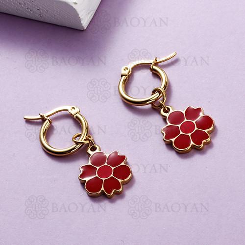 Pendientes colgantes de flor de acero inoxidable con diseño de joyería chapada en oro