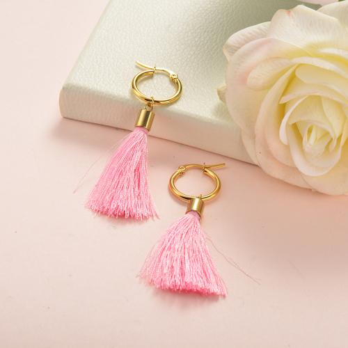 Joyas de acero inoxidable Diseño de concha Pendientes de borla Borla rosa