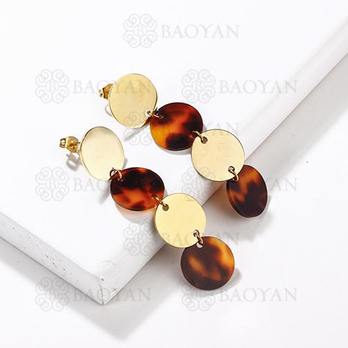 Boucles d'oreilles pendantes de léopard d'acier inoxydable de mode de conception de bijoux plaqué or