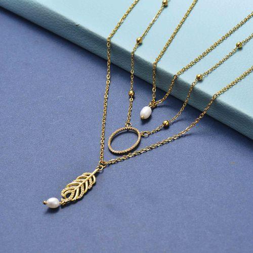 Collar de perlas de moda con capas de oro