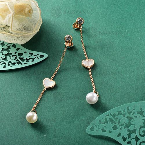 Boucles d'oreilles pendantes en acier inoxydable de conception de presonality de bijoux plaqués or rose