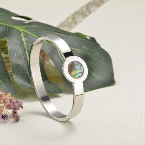 Stainless Steel Silver Bangle Bracelet -SSBTG143-15915-S