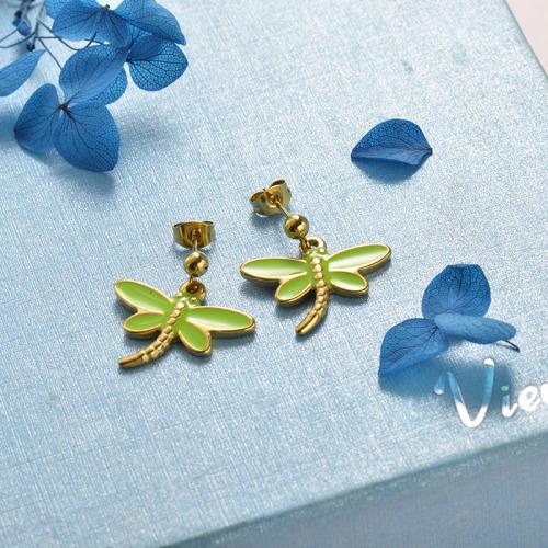 Pendientes de libélula de acero inoxidable de moda de diseño de joyería chapada en oro