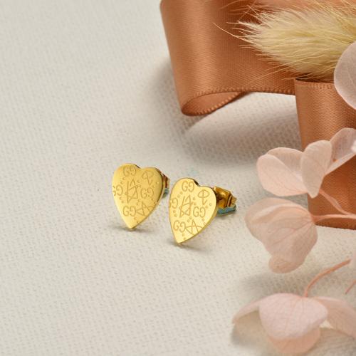Pendientes de botón de corazón con diseño de acero inoxidable de diseño Siemple de joyería chapada en oro
