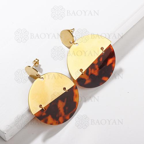 Pendiente de declaración de leopardo de personalidad de acero inoxidable de moda de diseño de joyería chapado en oro