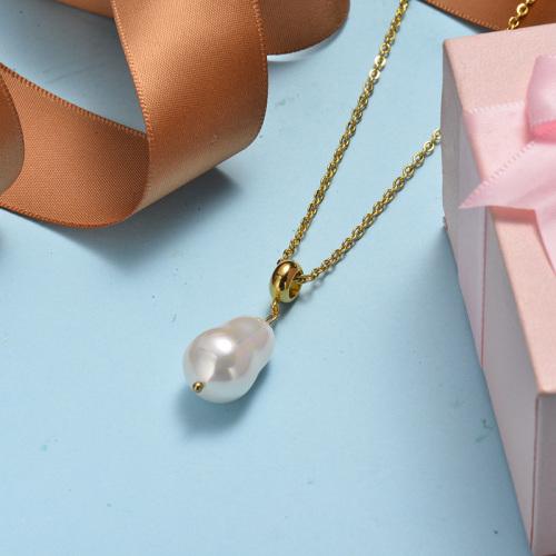 Collar de oro con perlas de agua dulce naturales