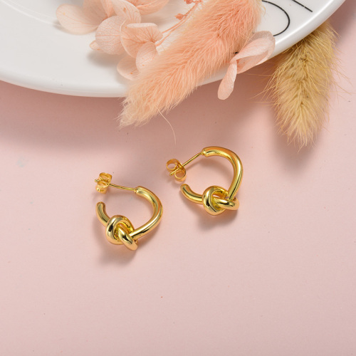 Joyas chapadas en oro Pendientes de nudo de acero inoxidable de estilo francés