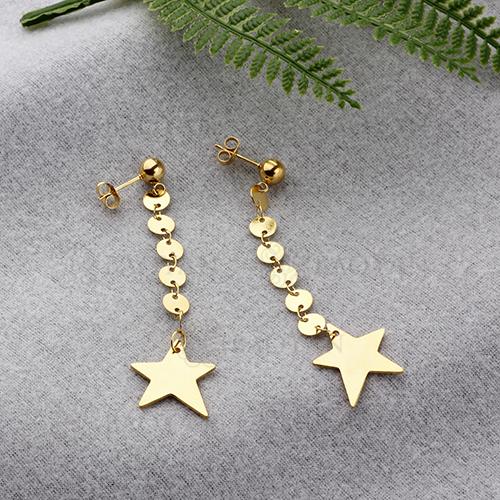 Pendientes de gota de estrella de personalidad de acero inoxidable con diseño de joyería chapados en oro