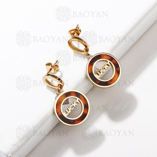 Boucles d'oreilles créoles chanceuses léopard en acier inoxydable de mode de conception de bijoux plaqué or