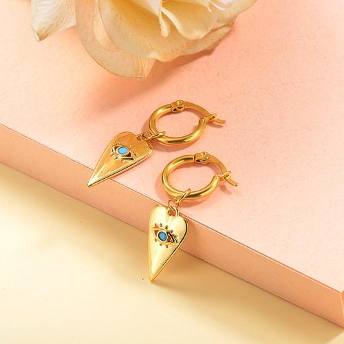 Bijoux plaqués or Design fait à la main en acier inoxydable Evil Eyes Heart Boucles d'oreilles